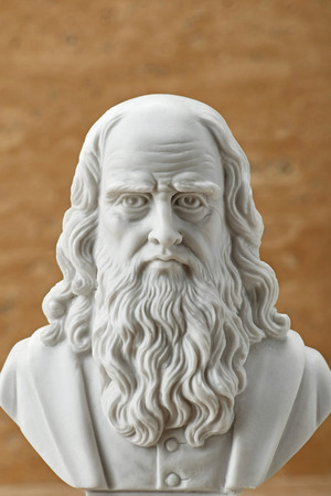 leonardo da vinci: Statue of Leonardo Da Vinci,ancient Italian creative artist. Stock Photo