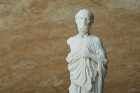 hippocratic: Statue of Hippocrates,ancient greek physician. Stock Photo