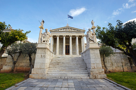 Academy of Athens in Greece. Stockfoto