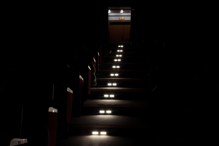 lights for emergency exit on a cinema. Stockfoto