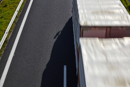 Track in motion blur on a highway.