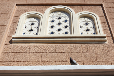 Pigeon standing on orthodox church window.