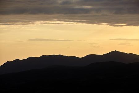 Landscape of mountains on sunshine.