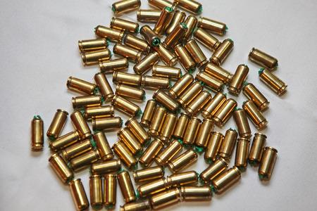 Empty bullet shells on white background. Stock fotó - 121627093