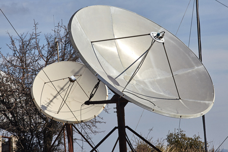Closeup view of satellite dishes.Communications.