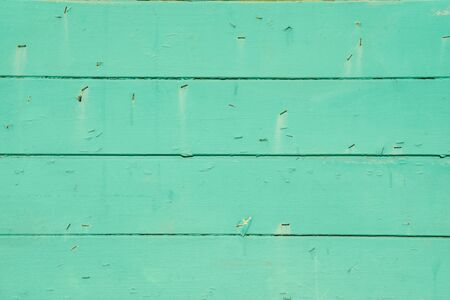 Closeup view of green wooden wall as background.