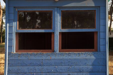 Closeup view of blue wooden windows as background.