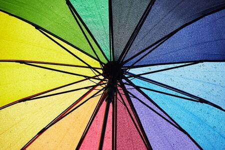 multicolored umbrella with raindrops.