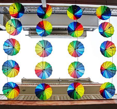multicolored umbrella decoration. Reklamní fotografie