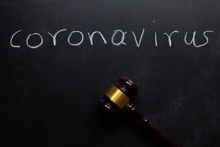 the word coronavirus written on a blackboard and a judge hummer. Standard-Bild