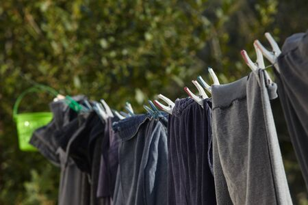clothes hanging for drying