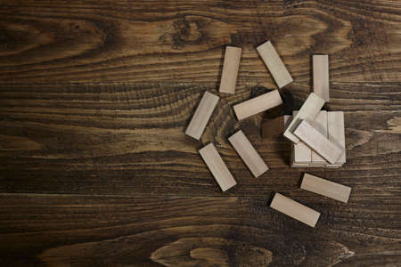 wooden toy on table. child play.