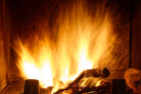 big fire in a fireplace. Standard-Bild - 161618590