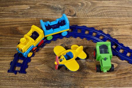 transportation toys on wooden table. Standard-Bild - 161618773