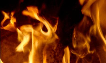 big fire in a fireplace. Standard-Bild - 161619158