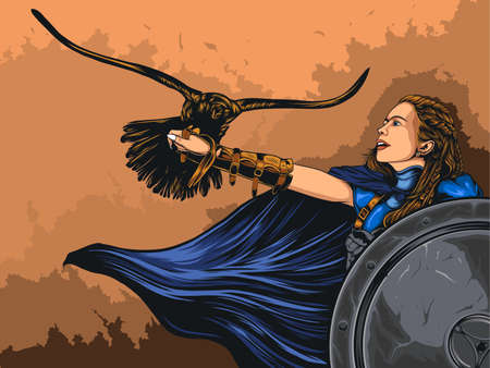 Female Viking with her eagle, beautiful warrior in medieval scene vector illustration.