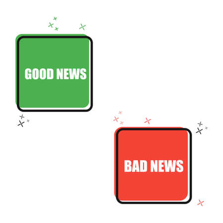 Good news, bad news flat banner. Isolated illustration.