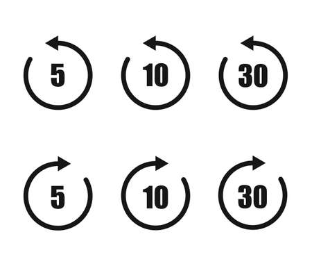 Replay vector icon set, 5, 10, 30 second sign symbol.