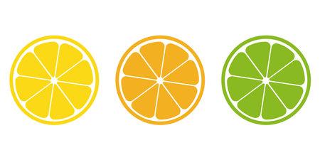 Citrus slice icon set, vector tropical fruit illustration.