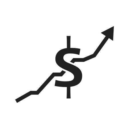 Dollar arrow indicates vector icon. Banking currency sign.