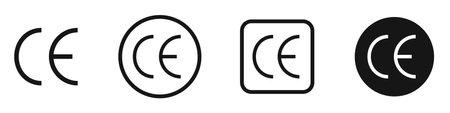 CE mark vector icon set. CE label symbol collection.