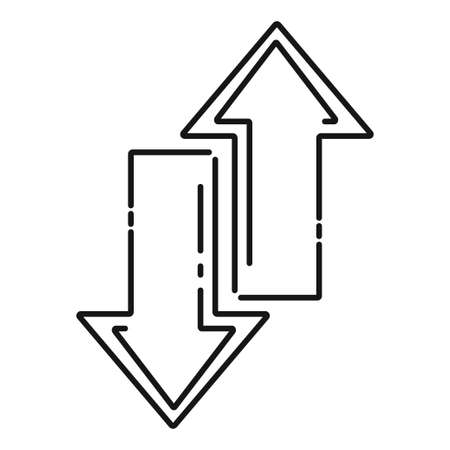 Line arrow flat icon, vector linear arrow on white background.
