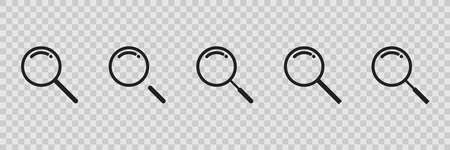Magnifying glass icon set on transparent background, vector flat loupe collection.