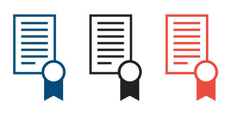Certificate document icon. Line vector isolated grand diploma icon collection.