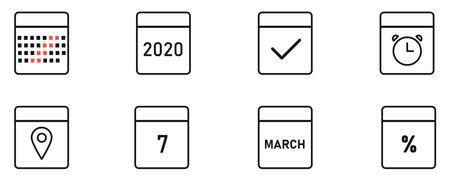 Calendar icon collection. Calendar line vector isolated set.