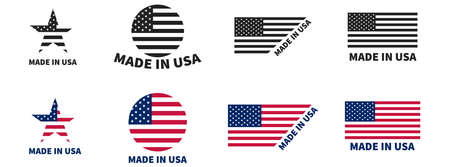 Made in USA labels set. Vector isolated element. American emblem on white background.
