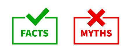 Facts myths vector symbol on white background. EPS 10. Vector Illustration
