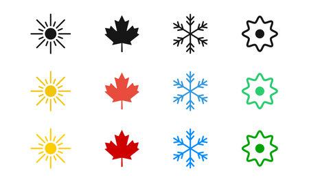Four season vector icon set. 4 seasons symbol collection on white background. Winter summer autumn spring. Ilustracja