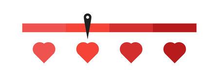 Love measuring vector illustration. Heart scale or meter. Valentine day card design. Vecteurs