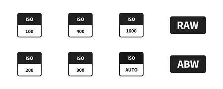 ISO camera icon set on white background. Vector iso symbol collection.