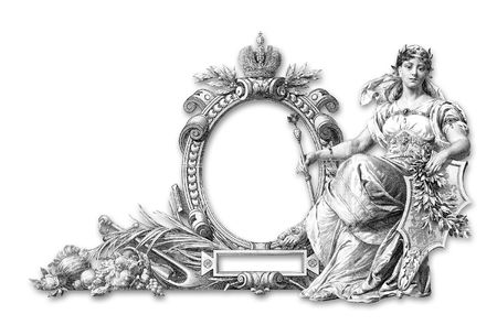 Old Victorian Frame and wooman a on white background photo