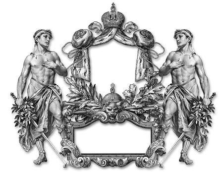 ermine: Marco de estilo victoriano y Two Man Foto de archivo