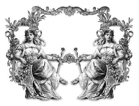 gronostaj: Stare wiktoriańskim Frame i dwa Woman  Zdjęcie Seryjne