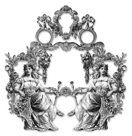 cetro: Marco de estilo victoriano y dos mujeres