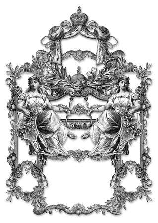 ermine: Marco de estilo victoriano y dos mujeres