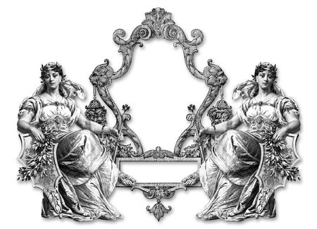 brooch: Old Victorian Frame on a White Background .