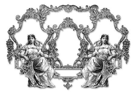 ermine: Antiguo marco victoriana y dos de la mujer Foto de archivo