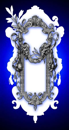 frame, carved into the old paper in blue Stock Photo - 5646324