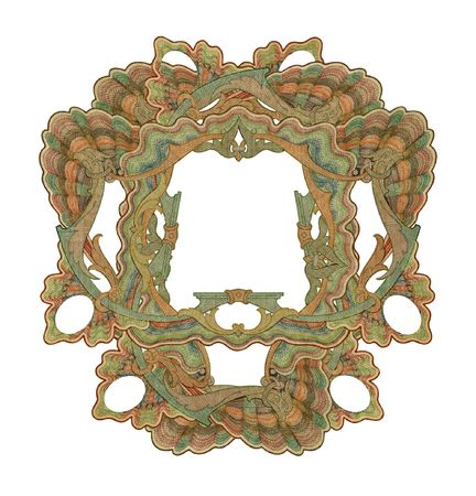 Luxuriously illustrated old colored victorian frame. Stock Photo