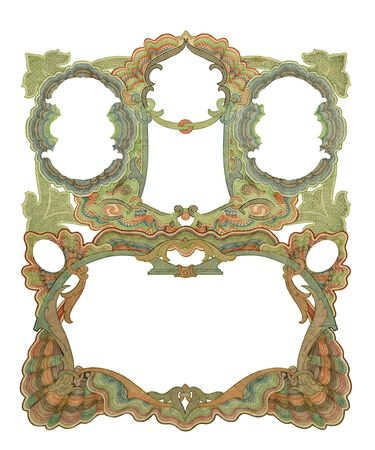 Luxuriously illustrated old colored victorian frame. Imagens