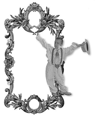 luxuriously: Luxuriously illustrated old victorian frame and kid . Stock Photo