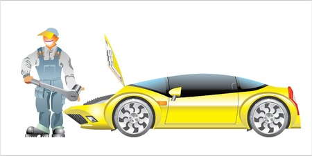 Mechanic and Car.