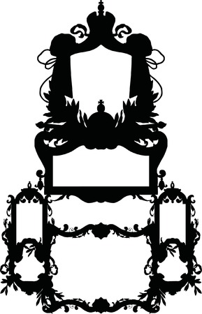 luxuriously: Silhouette Luxuriously illustrated old victorian frame.