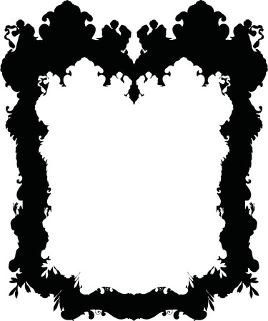 Silhouette Luxuriously illustrated old victorian frame. Vector