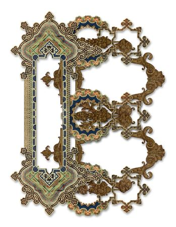 Luxuriously illustrated old capital letter B photo