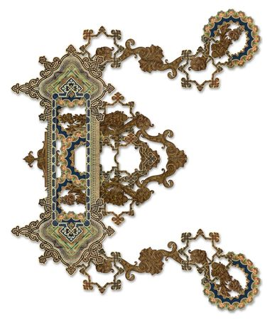 Luxuriously illustrated old capital letter E